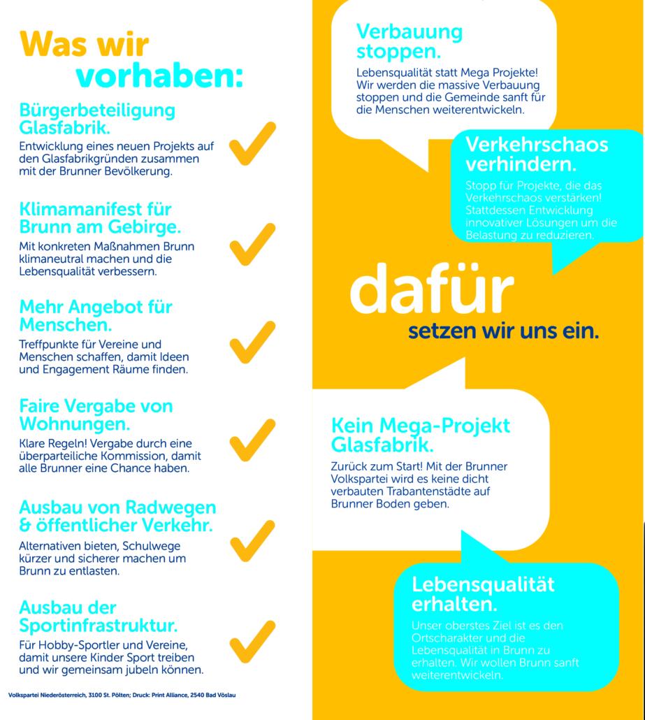 Volkspartei Brunn am Gebirge Wahlprogramm 2020